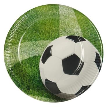 "Papstar Teller, rund 1 Packung = 10 Stück, Motiv: ""Football"""