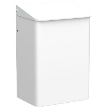 Geschlossene Abfallbehälter, wandhängend Aluminium, weiß beschichtet