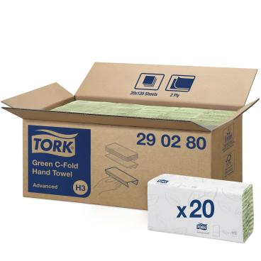 Tork Papierhandtücher H3 Advanced, 2-lagig 1 Paket = 20 Bündel x 120 = 2.400 Tücher, grün