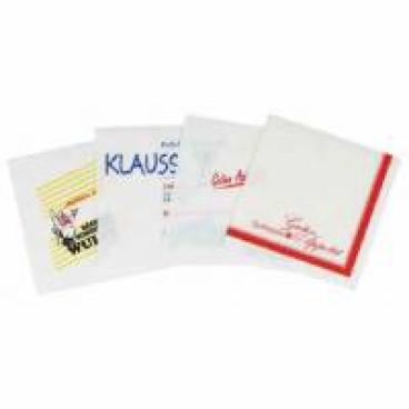 Werbe-Zelltuchservietten, 33 x 33 cm, 3-lagig 24 Karton = 38.400 Stück, 1/4 Falz