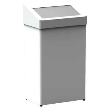Abfallbehälter m. selbstschließender Einwurfklappe Stahlblech, weiß beschichtet