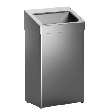 Abfallbehälter m. selbstschließender Einwurfklappe Edelstahl, gebürstet