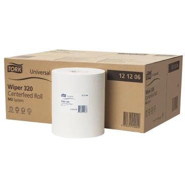 Tork Universal Wischtuch 320, 2-lagig, weiß 1 Karton = 6 Rollen x 160 m = 2.742 Tücher