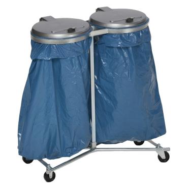 VAR Doppel Abfallsammler mit vier Laufrollen