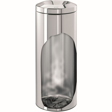 Brabantia Le Tube Papierkorb mit Zinkeinsatz, 30 Liter Brilliant Steel