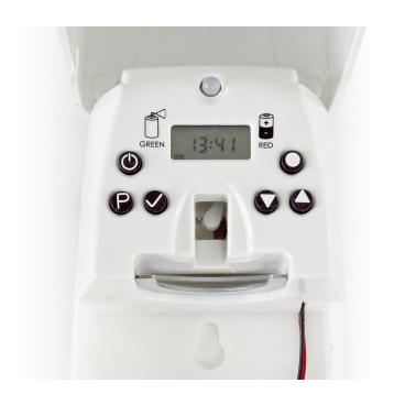 P+L Systems Washroom Duftspender LCD, programmierbar Eingebaute 24h Uhr, weiß