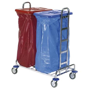 Floorstar Abfallsammelwagen Trennwagen 2 SOLID mit 2 Deckeln rot und blau