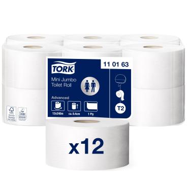Tork Mini Jumbo Toilettenpapier T2 Advanced, 1-lagig, weiß 1 Paket = 12 Rollen x 240 m = 2.880 m