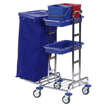 Floorstar Reinigungswagen RW 4 SOLID, verchromt mit Halterahmen für 1 x 120 l - Müllsäcke