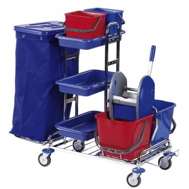 Floorstar Reinigungswagen RW 1 SOLID, verchromt mit Halterahmen für 2 x 70 l - Müllsäcke
