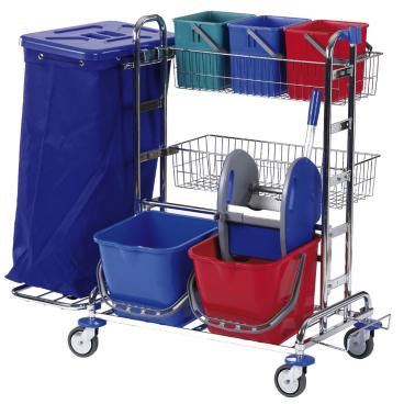 Floorstar Reinigungswagen RW 2 SOLID, verchromt mit Halterahmen für 2 x 70 l - Müllsäcke