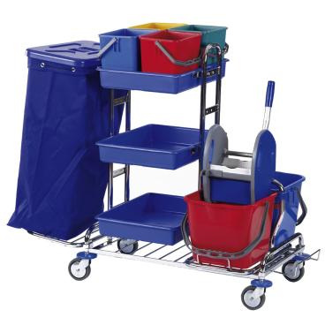 Floorstar Reinigungswagen RW 1 Quattro SOLID, verchromt mit Halterahmen für 2 x 70 l - Müllsäcke