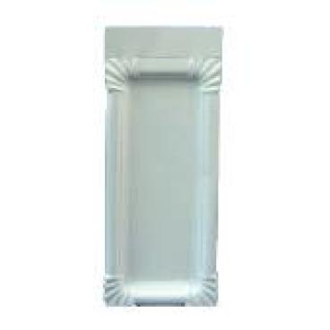 Pappteller, weiß, rechteckig aus Triplexkarton 1 Karton = 12 x 250 = 3.000 Stück,  8 x 18 + 3 cm