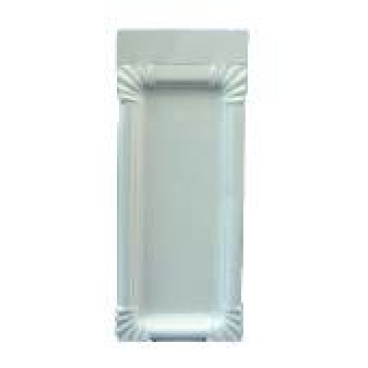 Pappteller, weiß, rechteckig aus Triplexkarton 1 Karton = 12 x 250 = 3.000 Stück, 10 x 16 cm