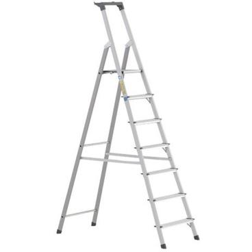 Zarges Z200 Stufen-Stehleiter mit Brücke & Ablageschale 7 Stufen, Plattformhöhe: 147 cm